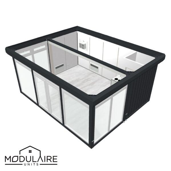 Kantoorunit 6,05 x 4,88m met glazen wanden, toilet en keuken
