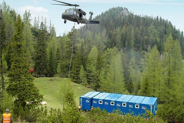 Helicopter verplaatsing van modulaire unit