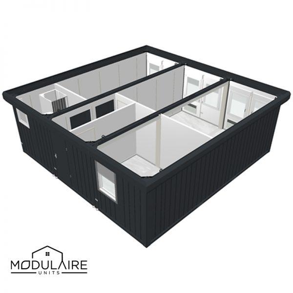 Woonunit 7,35x7,35M met badkamer, 3 kamers en een hal