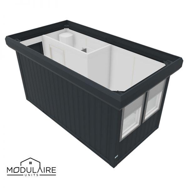 Woonunit 4,88 x 2,43m met badkamer aan de zijkant