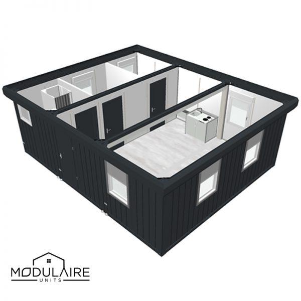 woonunit 7,35 x 6,05m met badkamer en open keuken en 3 kamers