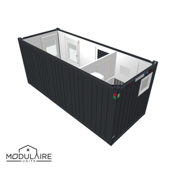 Standaard B - 6,05 x 2,43 m 20ft badkamer achterkant