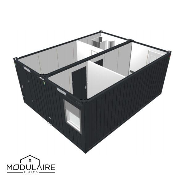 Standaard D - 6,05 x 4,88 m 40ft 1 grote 1 kleine kamer