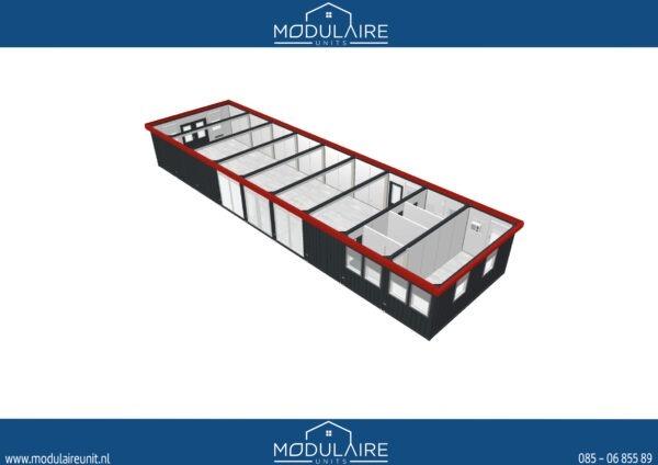 Groot modulair kantoor met glazen wanden bij A18 Sierbestrating B.V. in Doetinchem